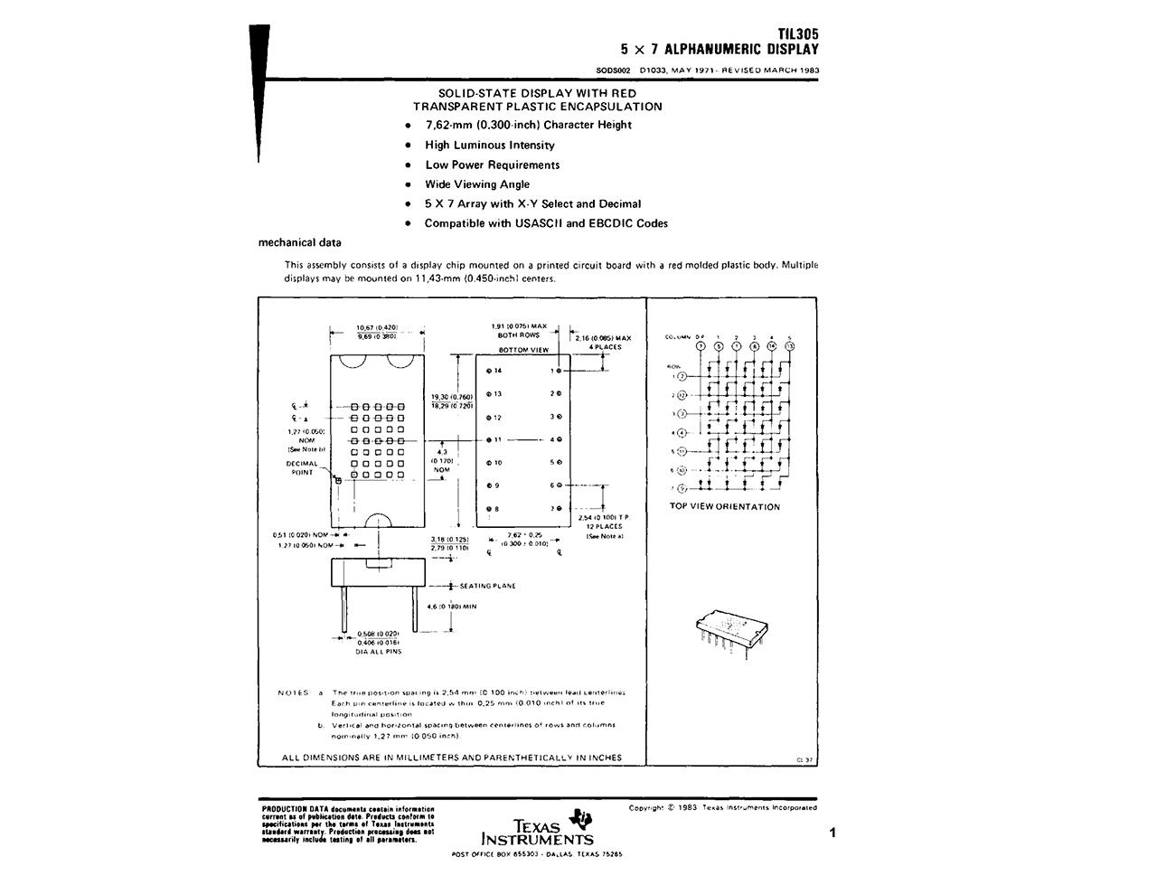 Texas Instruments datasheet