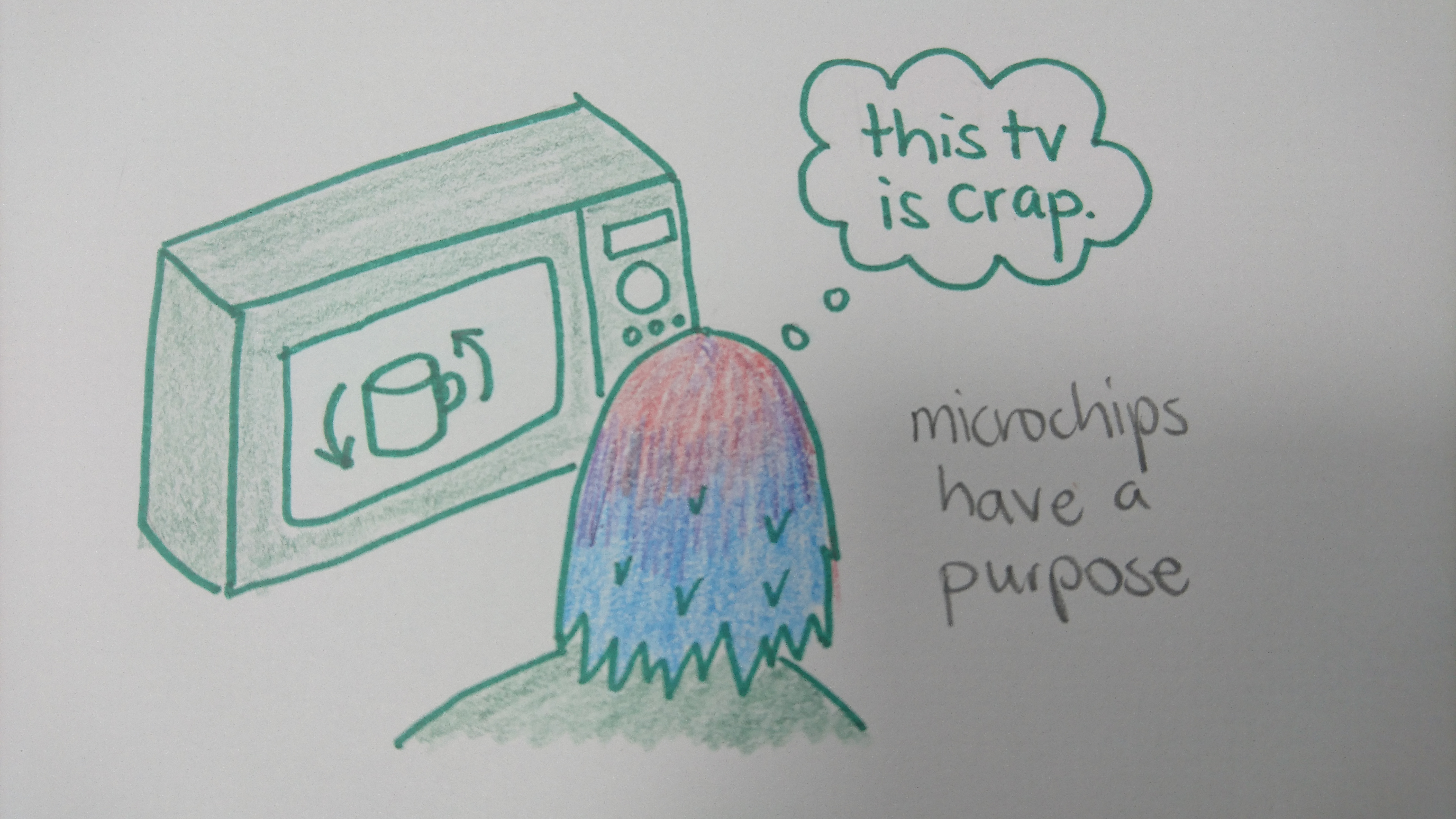 watching the microwave tv